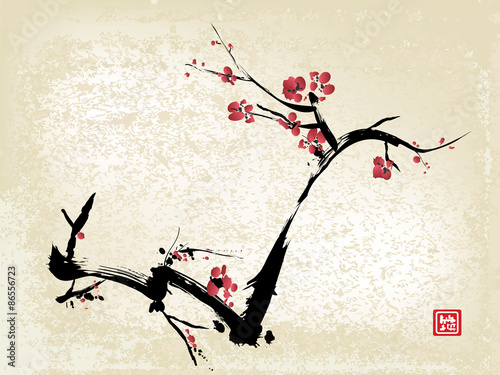 Photo  cherry blossom ink painting