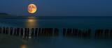 Fototapeta Fototapety do łazienki - Zachód księżyca nad Bałtykiem / morze bałtyckie