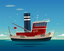 Tugboat. Vector Illustration.
