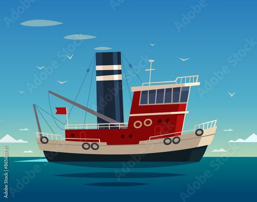 Fotografia  Tugboat. Vector illustration.