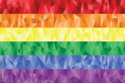 Gay and Lesbian rainbow flag in poly art Canvas Print