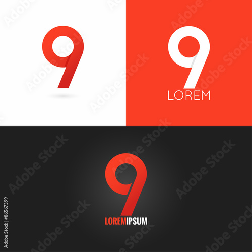 Poster  number nine 9 logo design icon set background