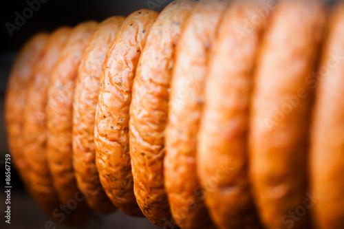 Staande foto Vlees Traditional food. Smoked sausage.