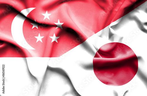 Photo  Waving flag of Japan and Singapore