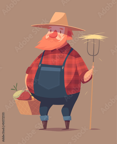 Funny farmer character. Isolated vector illustration.