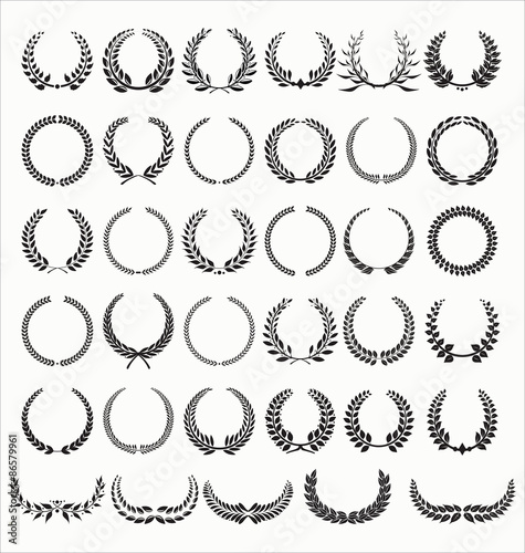 Fotografie, Obraz  Laurel Wreaths Vector Collection
