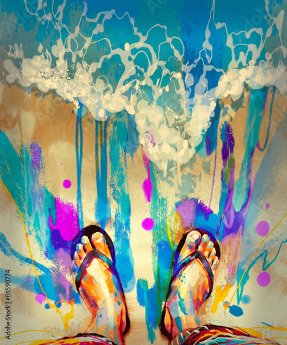 Obrazy reprodukcje  painting-of-colorful-feet-with-flip-flops-on-sandy-beach