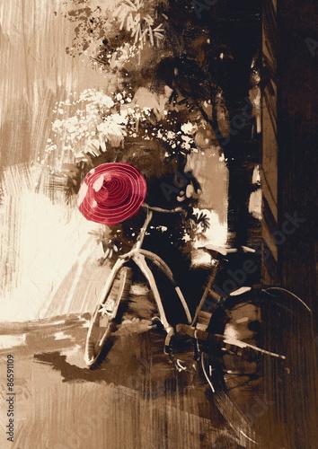 rower-starodawny-i-czerwony-kapelusz-na-letni-dzien-cyfrowy-obraz