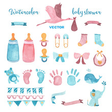 Watercolor Vector Baby Shower ...