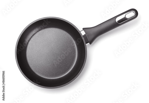 Fototapeta Top view of new empty frying pan isolated on white obraz