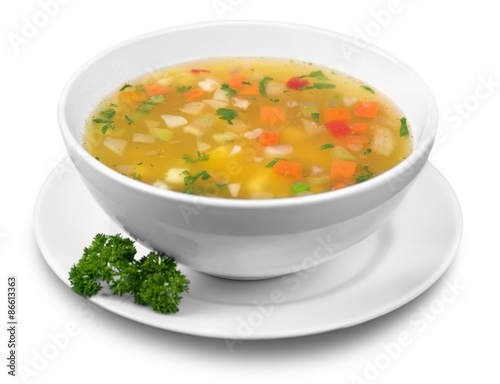 Fotografie, Obraz  Soup, Vegetable Soup, Bowl.