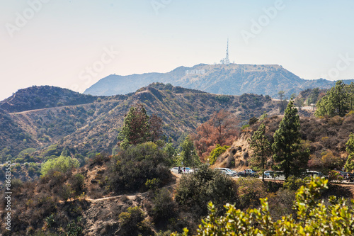 Fotografie, Obraz  Mountain view with Hollywood Sign from the Griffith Observatory
