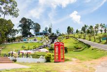 Red Telephone Box In Garden Of 7 Heaven Krabi Thailand