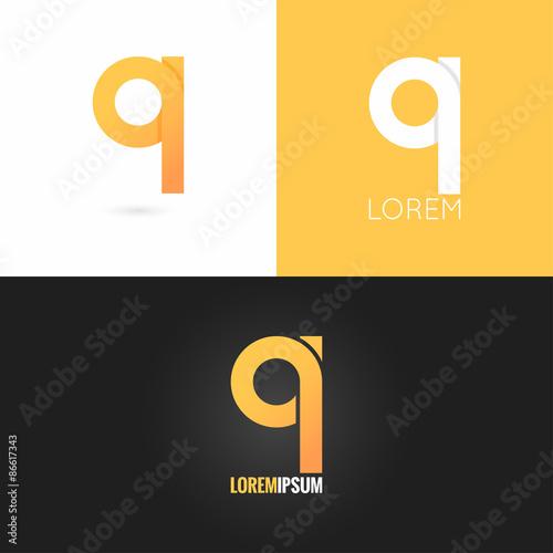 Photo  letter Q logo design icon set background