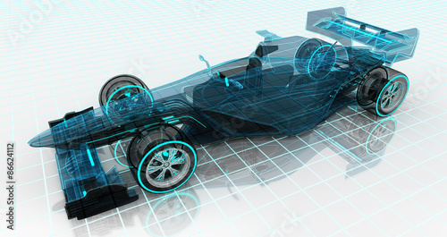 Valokuva  formula car technology wireframe sketch upper front view