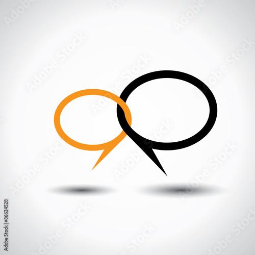Fotografie, Obraz  chat or talk symbol or speech bubble - concept vector line icon