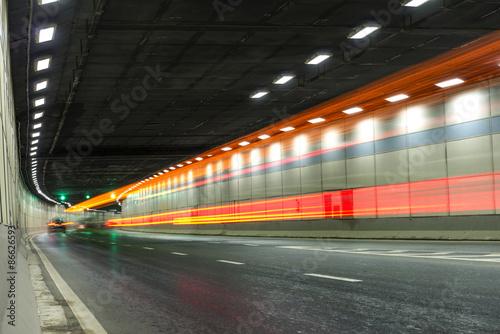 Foto op Aluminium Nacht snelweg Abstract car in the tunnel trajectory