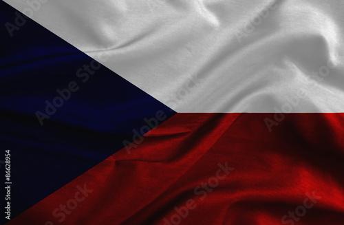 Obraz na plátně Czech Republic grunge waving flag