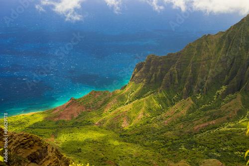 Fotografie, Obraz  Pohled na Na Pali pobřeží na ostrova Kauai na Havaji