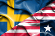 Waving flag of Liberia and Sweden