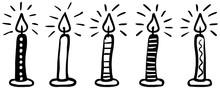 5 Gemusterte Kerzen, Handgezei...