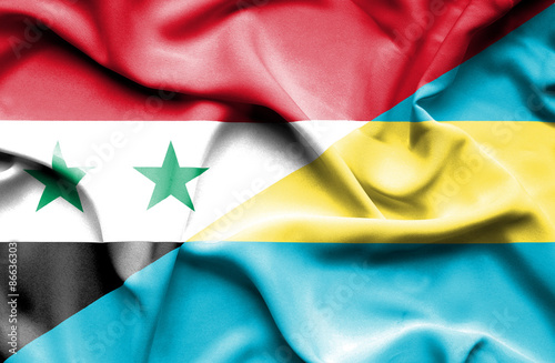 Poster Algérie Waving flag of Bahamas and Syria