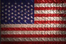 United States Flag,metal Texture