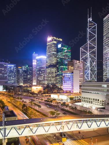 Keuken foto achterwand Peking Hong Kong Central at twilight