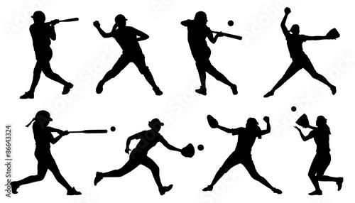 Fotografie, Obraz  softball silhouettes