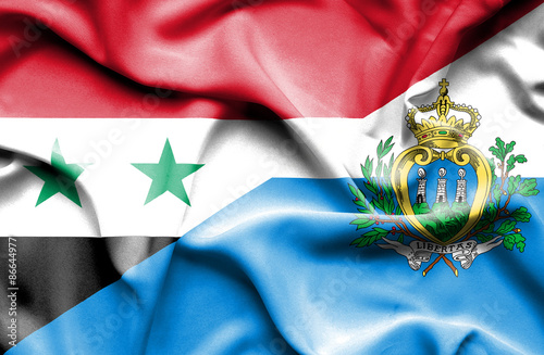 Poster Algérie Waving flag of San Marino and Syria