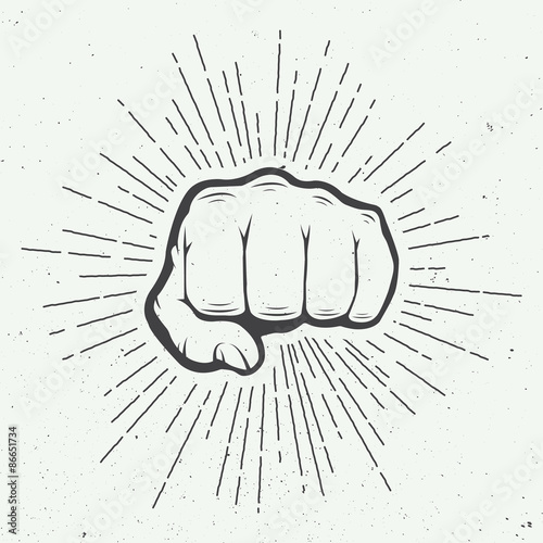 Fotografiet Fist with sunbursts in vintage style. Vector illustration