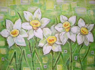Fototapeta Malarstwo Spring white daffodils on a beautiful acrylic painting background. Daffodils spring flowers or narcissus. Canvas. Interior decor. Still-life painting.