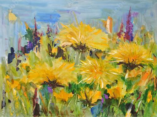 Fototapety, obrazy: Dandelions. Sunlit meadow, modern art. Oil on canvas