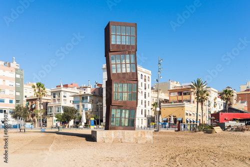 In de dag Barcelona The Barceloneta beach. The beach is very popular below young tourists, who visit Barcelona. The beach is in close to down town and very famous