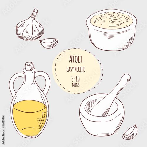 Aioli sauce recipe illustration in vector Wallpaper Mural