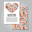 Two sides invitation card design with hiking and camping equipme