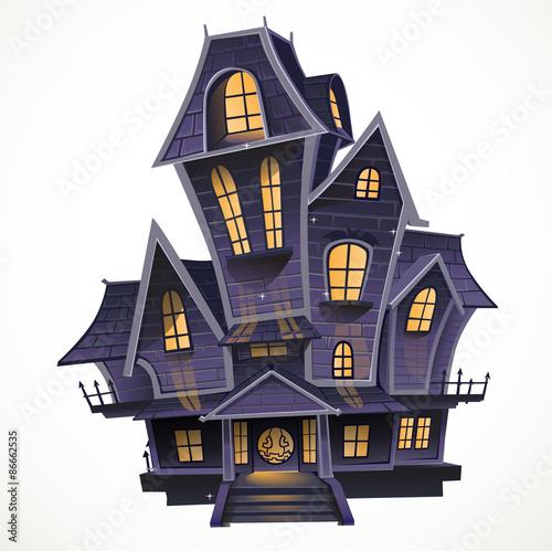 Fotografie, Obraz  Happy Halloween cozy haunted house