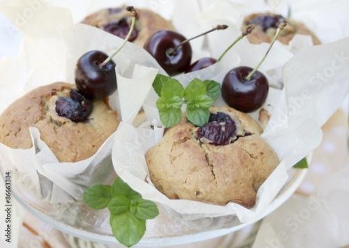 Photo  muffiny z czereśniami