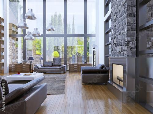Loft Apartment Interior Design With Panoramic Window Interior Classy Loft Apartment Interior Design
