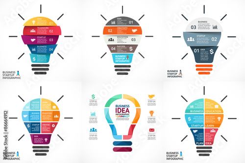 Obraz Vector light bulb infographic. Template for circle diagram - fototapety do salonu