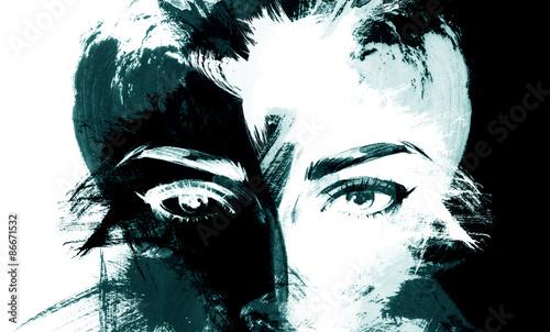 Poster Portrait Aquarelle woman portrait .abstract watercolor