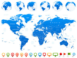 Fototapeta na wymiar World Map, Globes, Continents, Navigation Icons - illustration.Highly detailed vector illustration of world map, globes and continents.