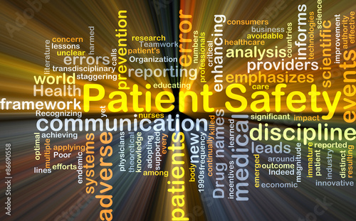 Patient safety background concept glowing Wallpaper Mural