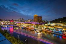 Clarke Quay At Singapore Night...