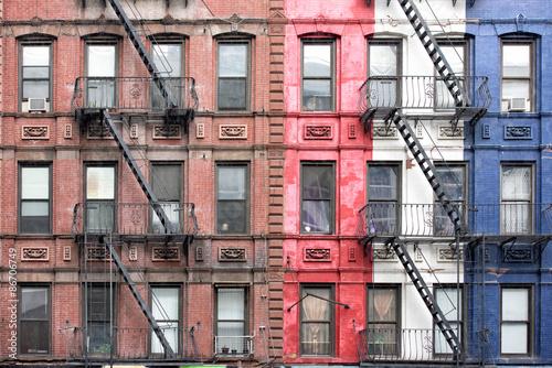 Fototapeten New York New york manhattan buildings detail of fire staircase