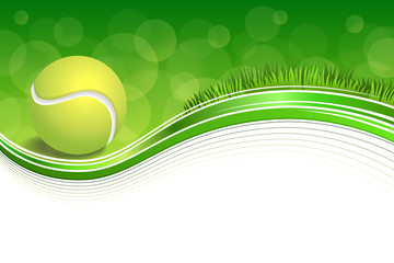 Panel Szklany Tenis Background abstract green grass sport white tennis yellow ball frame illustration vector