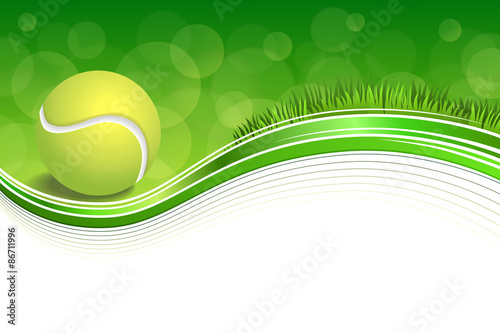 Background abstract green grass sport white tennis yellow ball frame illustration vector - 86711996