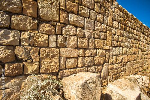 Stones of the ruins of the Umayyad city of Anjar, Lebanon. UNESCO World Heritage Site
