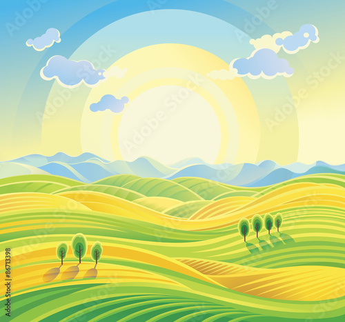 Sunny rural landscape with rolling hills and fields. Fototapeta