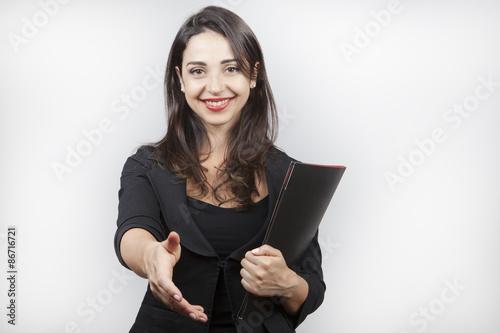Giovane ragazza simula stretta di mano Canvas Print